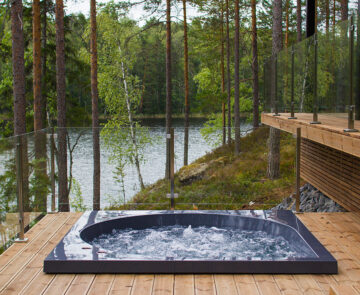 Grey Drop pool with a lake view